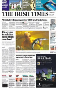 Irish Times front page 2014