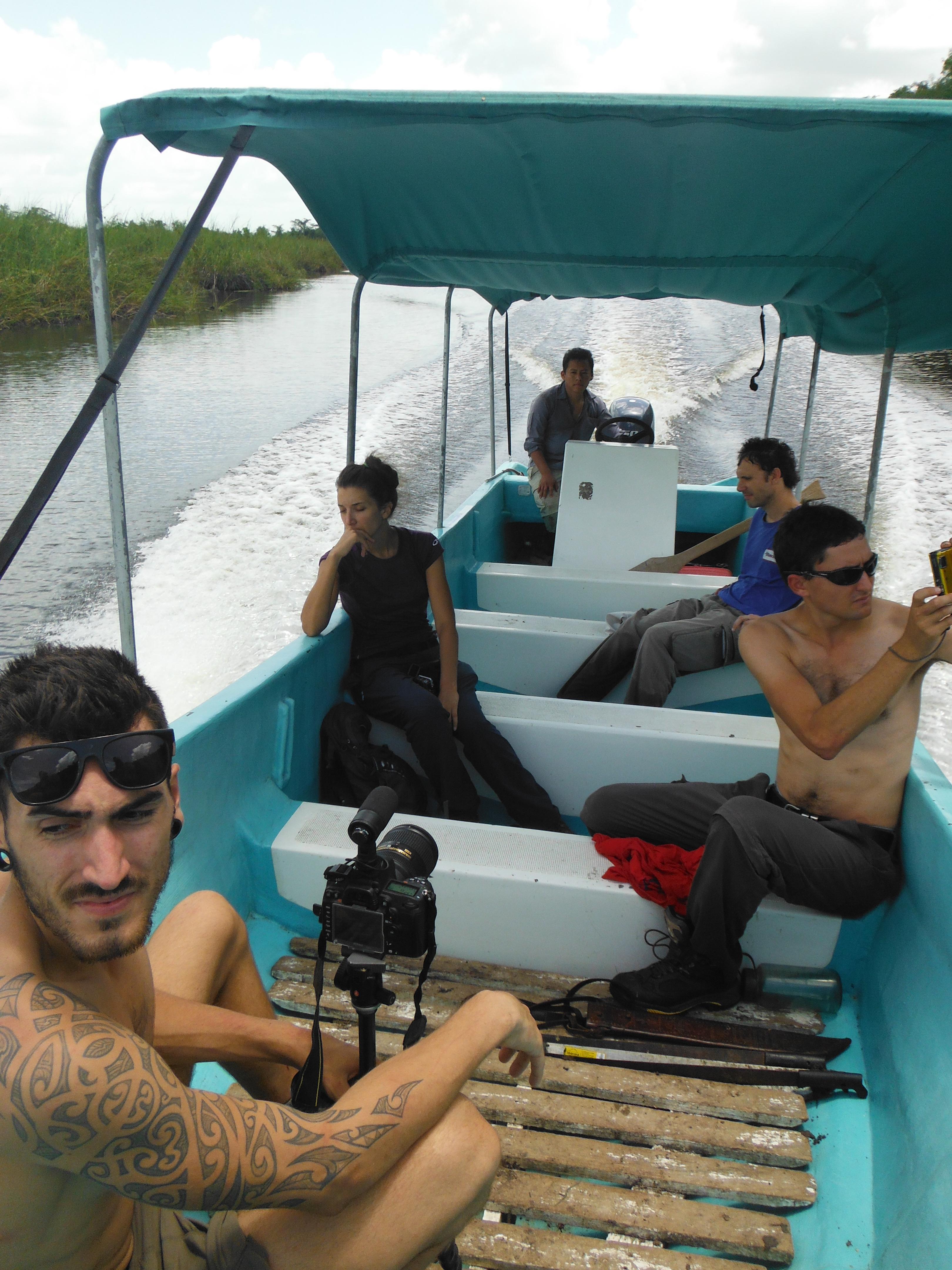 film crew on boat